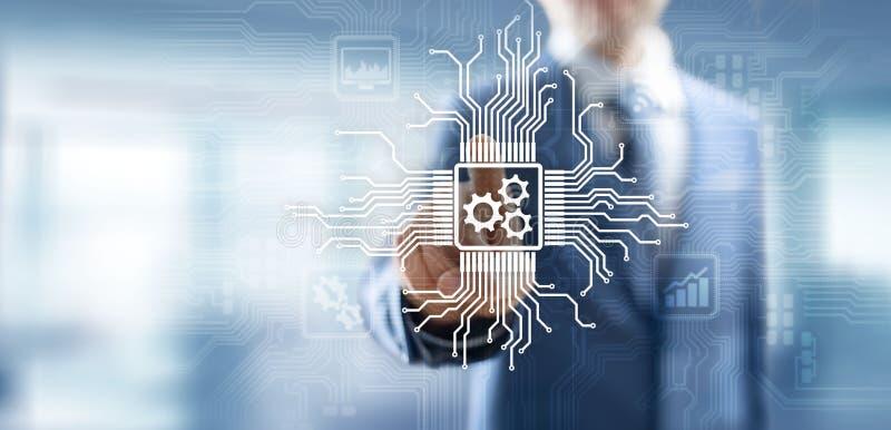 在虚屏上的齿轮机构 自动化和商业运作流程 企业和技术概念 库存例证