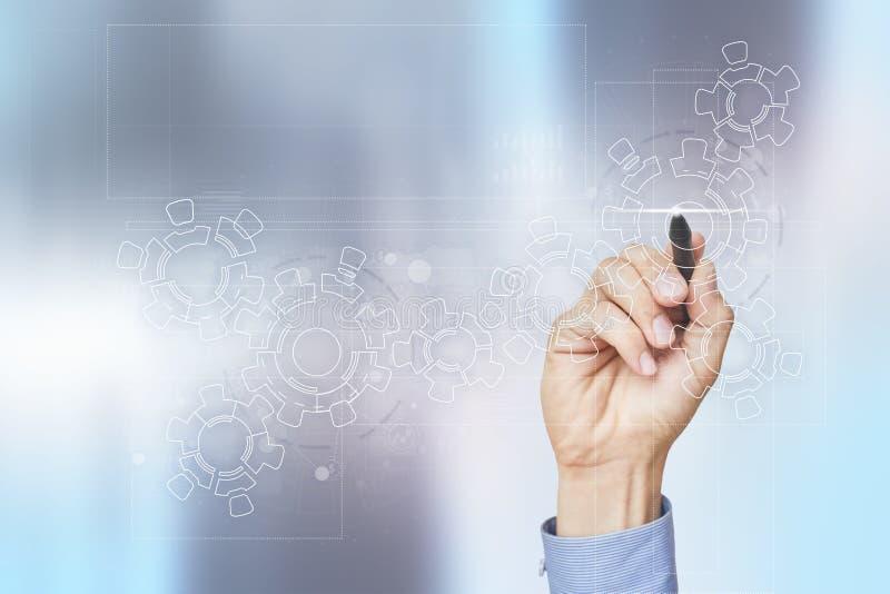 在虚屏上的齿轮 经营战略和技术概念 自动化过程 库存照片