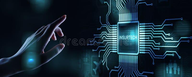 在虚屏上的Insurtech按钮 保险技术互联网数字iot被保险的家用汽车物产健康 库存图片