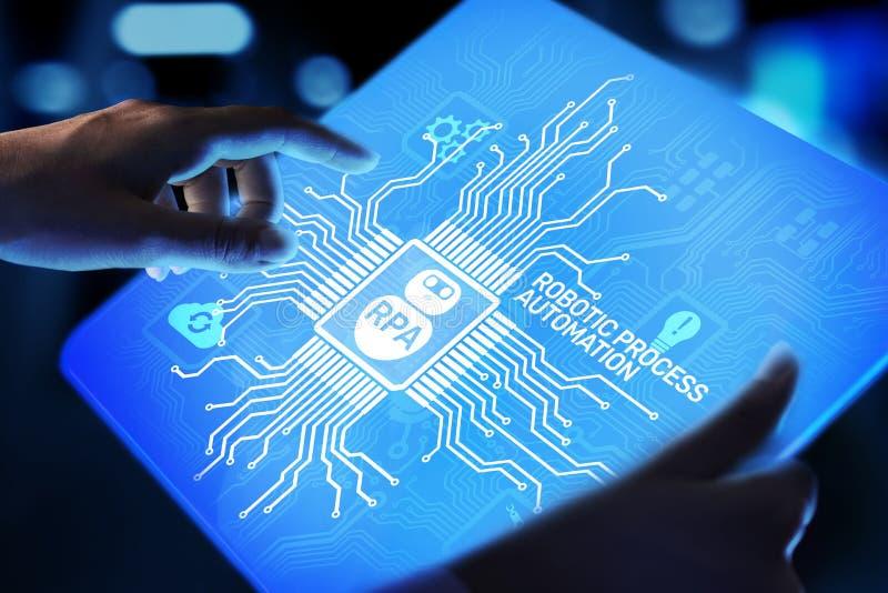 在虚屏上的RPA机器人自动化创新技术概念 免版税图库摄影