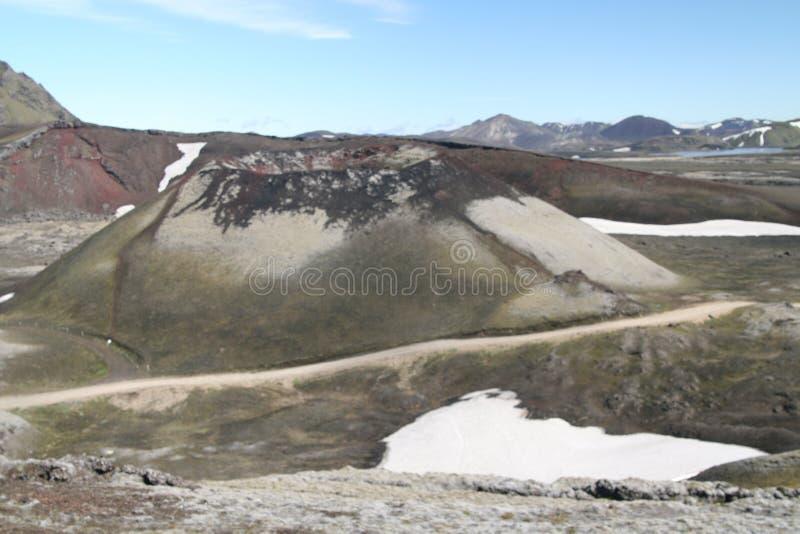 在虚幻的贫瘠风景的超现实的火山口-拉基火山火山火山口,冰岛 免版税库存图片