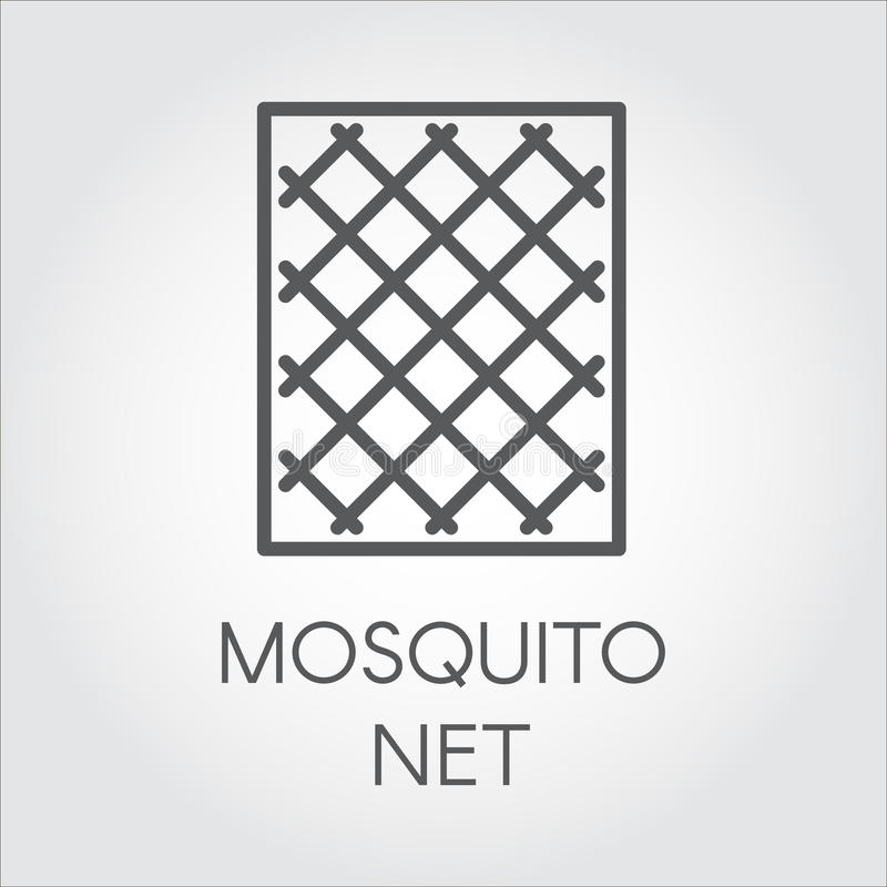 在蚊帐线性样式的朴素象窗口的 保护的概念免受昆虫 漫画人物滑稽的以图例解释者铅笔笔设置了向量 皇族释放例证
