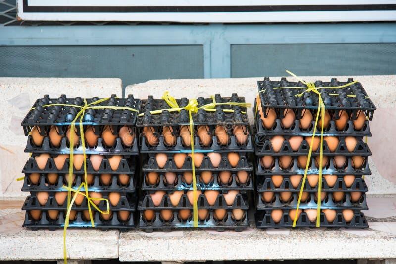在蛋盘区包裹的新鲜的鸡蛋从packa的一个养鸡场 免版税图库摄影