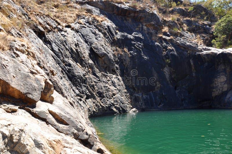 在蜒蜒秋天的岩石水池 图库摄影