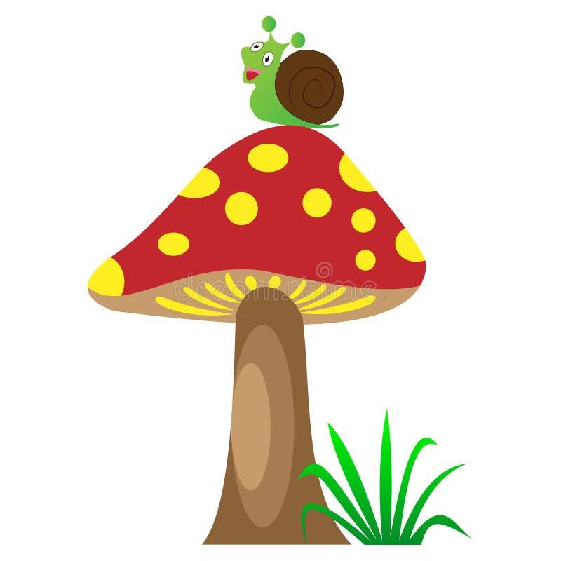 在蜗牛的蘑菇 皇族释放例证