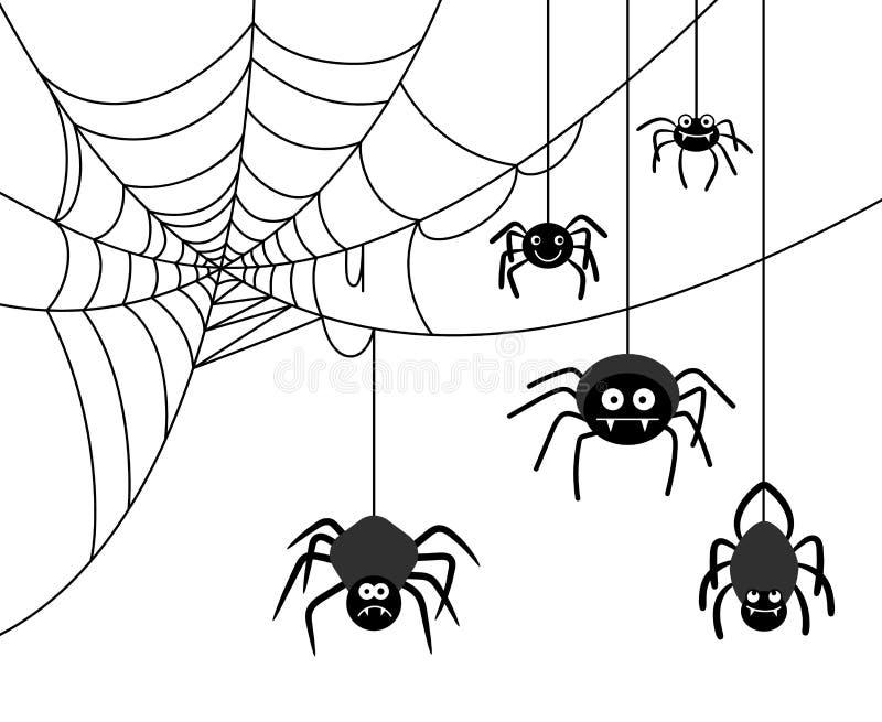 在蜘蛛网的蜘蛛 库存例证