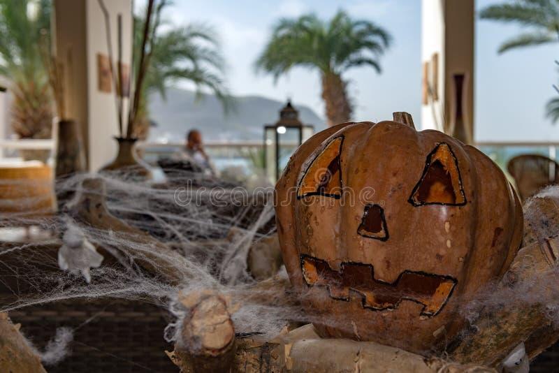 在蜘蛛网雕刻的万圣夜南瓜 免版税库存照片