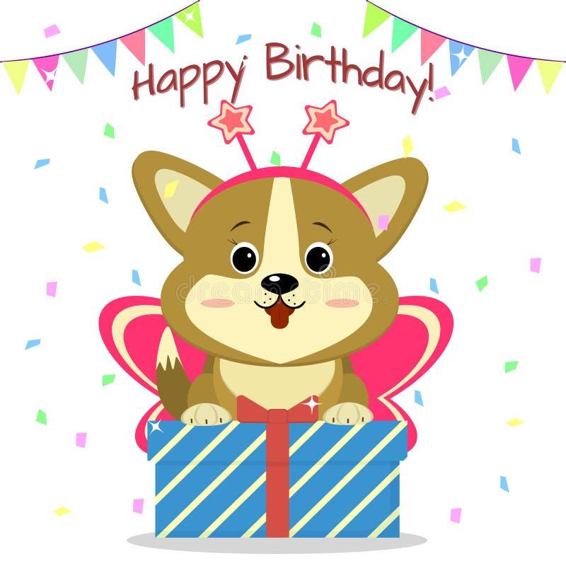 在蝴蝶衣服的小狗小狗坐并且拿着有一件礼物的一个箱子在五彩纸屑和旗子背景  愉快的生日 库存例证