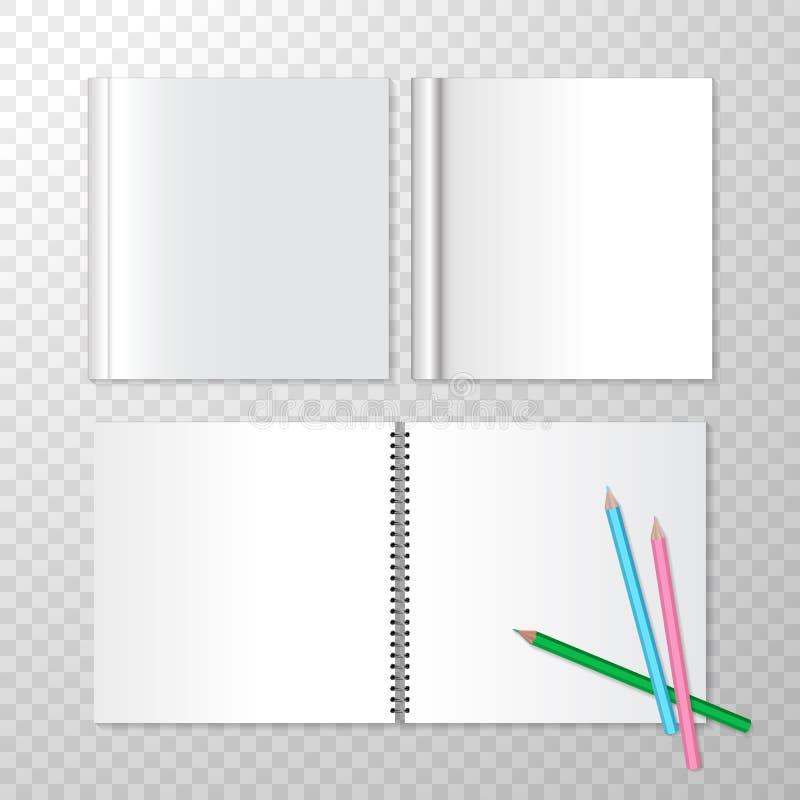 在螺旋装订和方形的闭合的书籍的顶视图被打开的笔记本与空的白页 为做广告设置的传染媒介 向量例证
