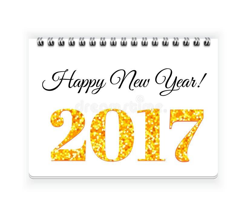 在螺纹笔记本纸传染媒介背景的新年快乐2017年 皇族释放例证