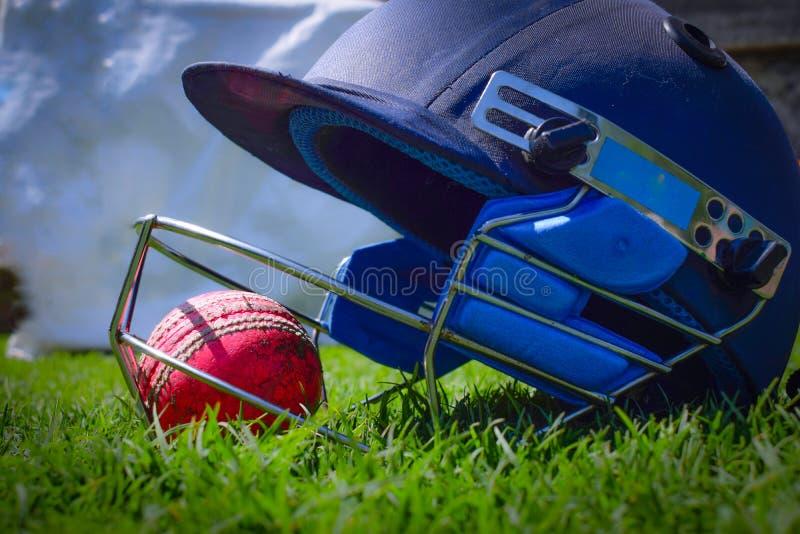 在蟋蟀盔甲里面的板球 在一个绿色领域的板球 蟋蟀盔甲使用作为保护 在基于的球领域 免版税库存图片
