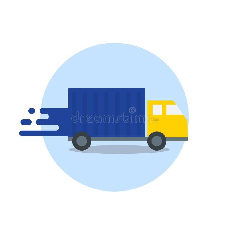 在行动的卡车 快速处理交货 在白色背景隔绝的快速的运输 传染媒介平的象 库存例证