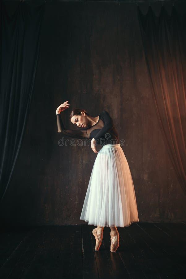 在行动的古典跳芭蕾舞者在阶段 库存照片