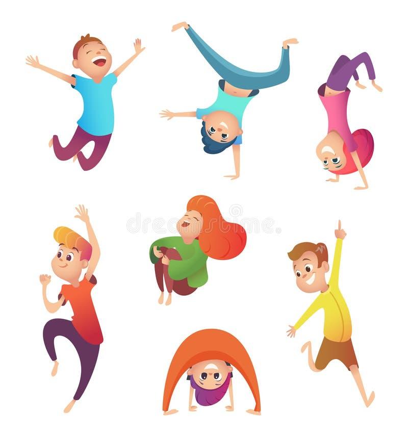 在行动的愉快的孩子 另外姿势和行动的孩子 漫画人物设计 向量例证