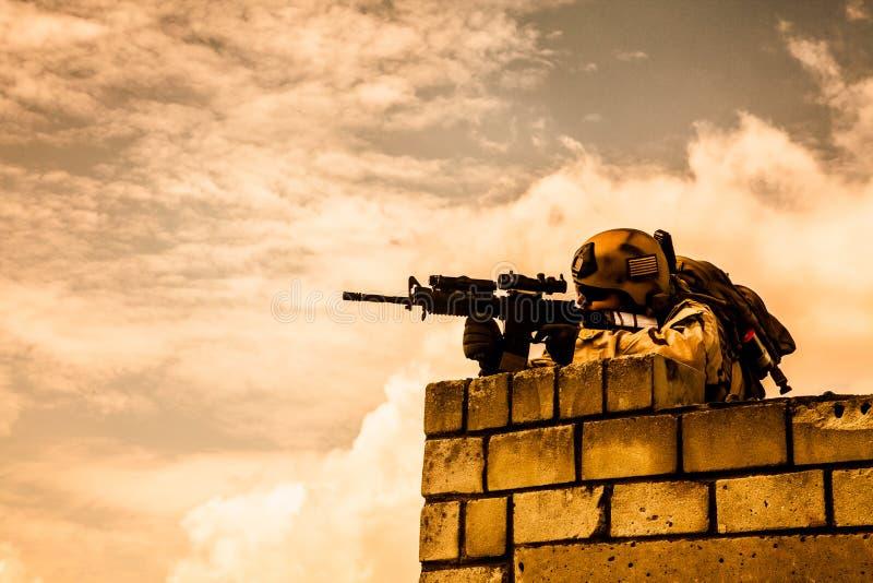 在行动的海豹特种部队 免版税库存图片