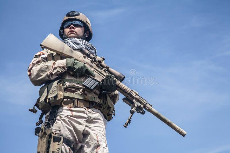 在行动的海豹特种部队 免版税库存照片