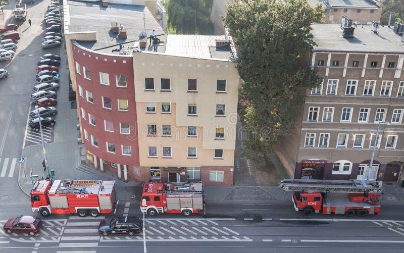 在行动的消防员旅团 库存图片