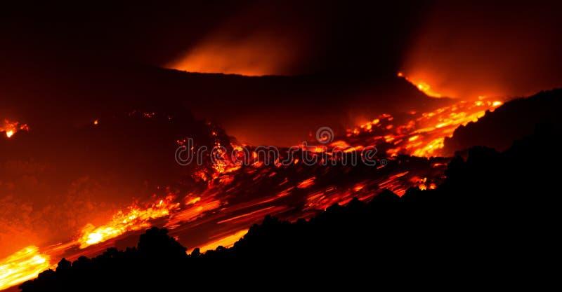 在行动的熔岩流在从活跃中央火山口的Etna火山 免版税库存照片
