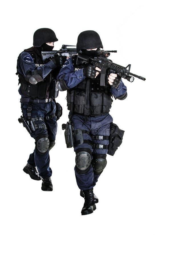在行动的特警队 图库摄影