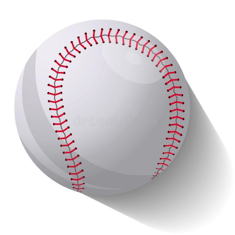 在行动的现实棒球球与在白色背景的阴影 r 皇族释放例证