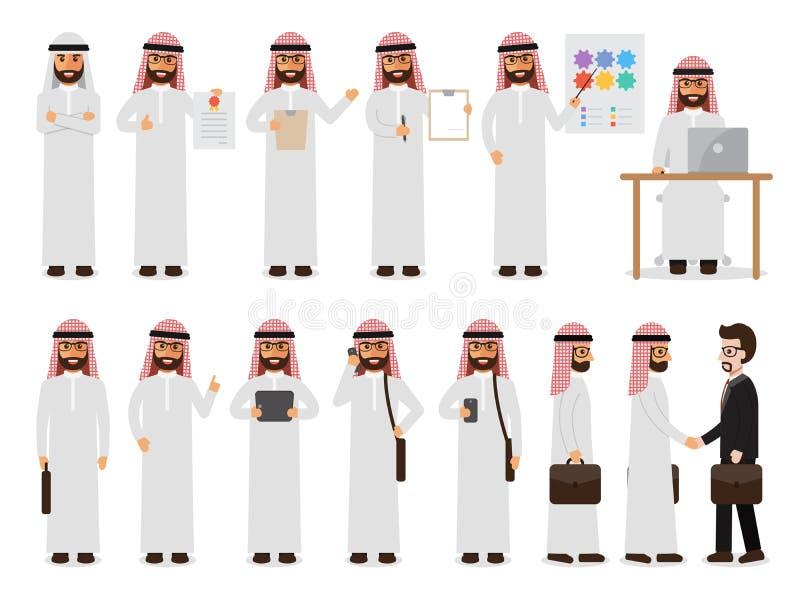 在行动的阿拉伯商人字符 库存例证