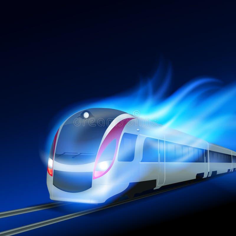 在行动蓝焰的高速火车在晚上.图片