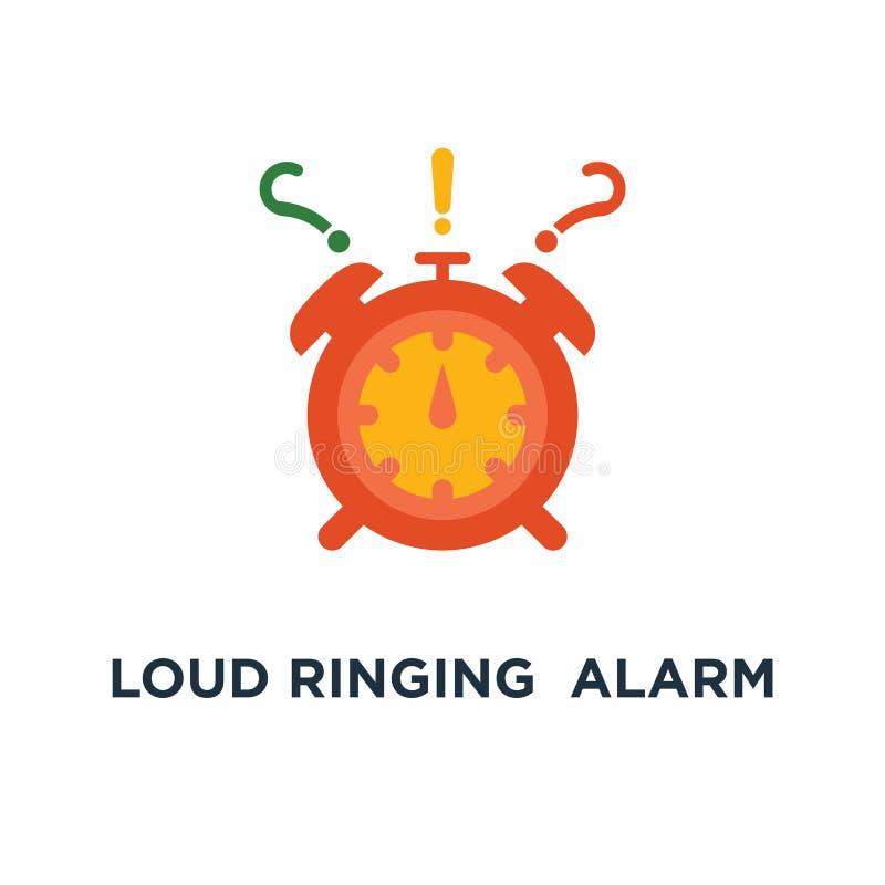 在行动象的大声的敲响的红色闹钟 最后期限,迫切交付,任务安排,密集的路线概念标志设计, 库存例证