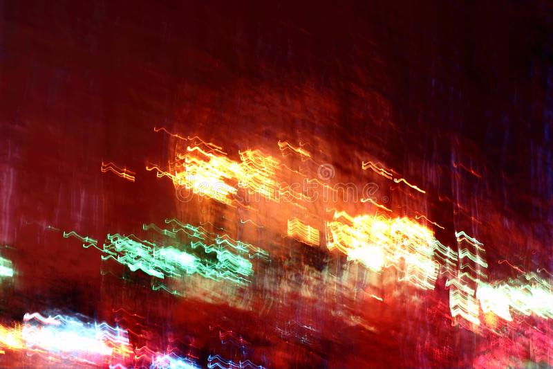 在行动迷离的发光的多彩多姿的光 库存图片
