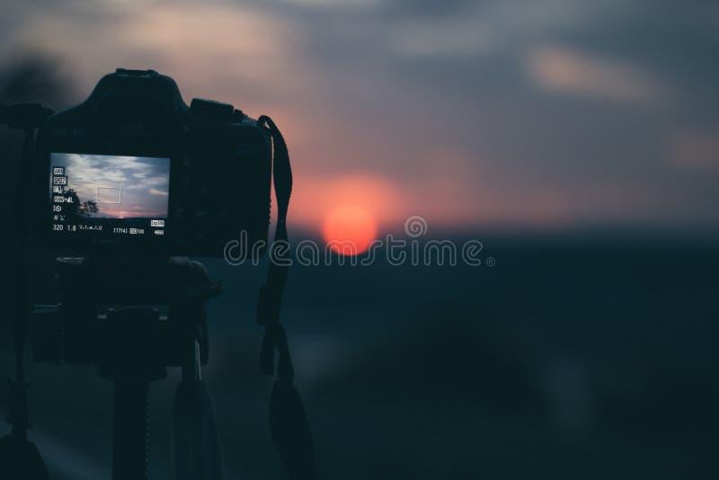 在行动采取的美好的日出摄影 免版税库存照片