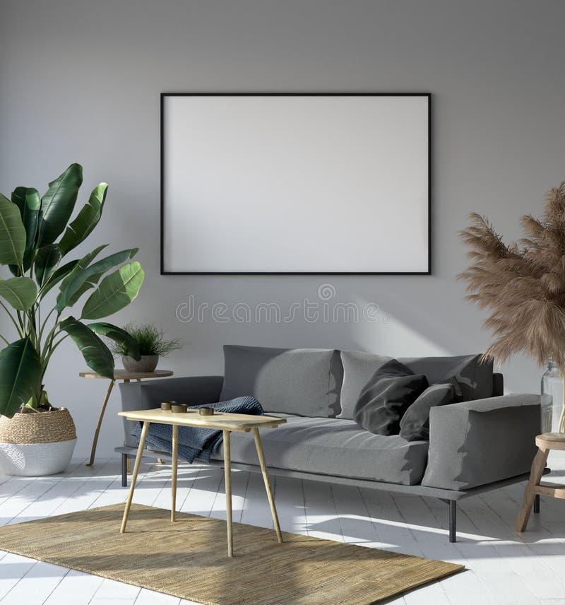 在行家客厅内部,斯堪的纳维亚样式的大模型海报 库存例证