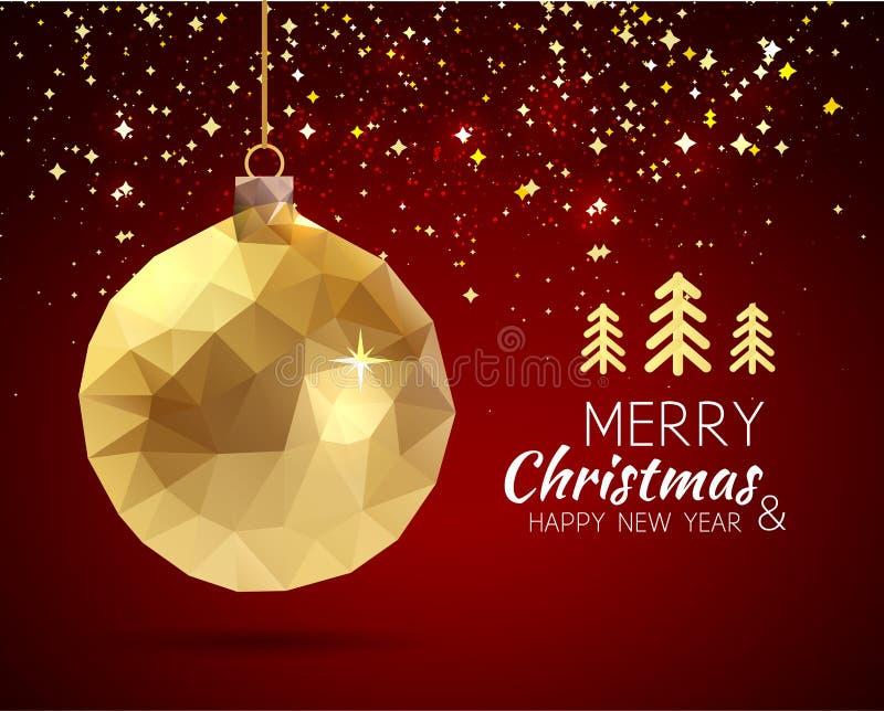 在行家origami样式的圣诞快乐新年快乐时髦三角金子xmas球形状 库存例证