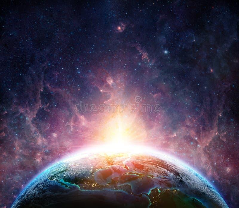 在行星地球上的日出 库存例证