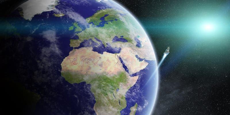 在行星地球的日出在空间 库存例证