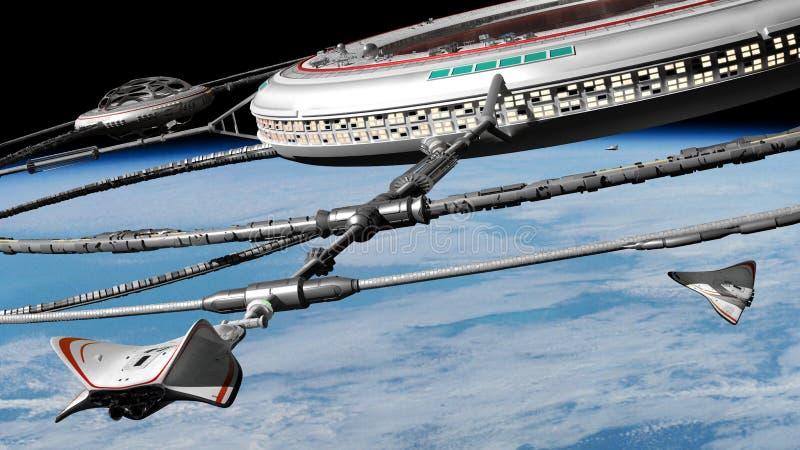 在行星地球轨道的空间站与靠码头的太空飞船3d科幻背景例证,这个图象的元素的 免版税图库摄影
