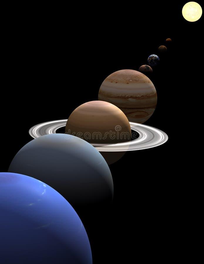 在行星太阳星期日系统附近的对准线 免版税库存图片