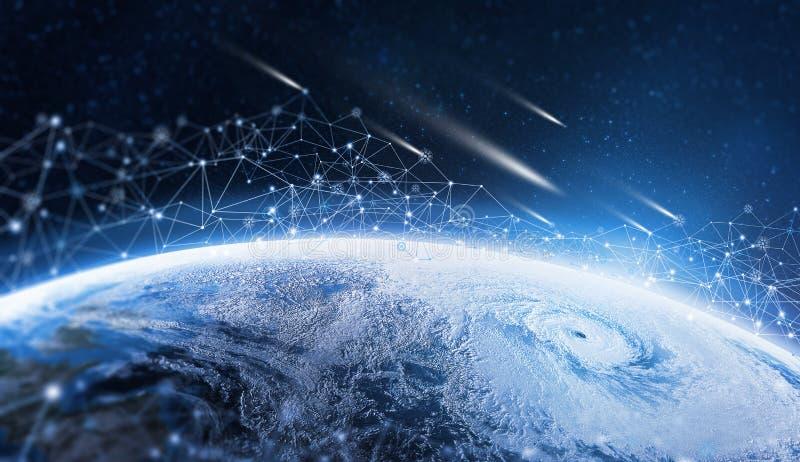 在行星的全球性信息网 地球由数字资料围拢 库存图片
