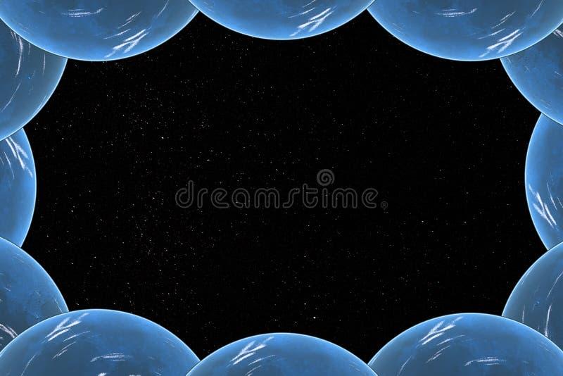 在行星的框架的满天星斗的天空 皇族释放例证