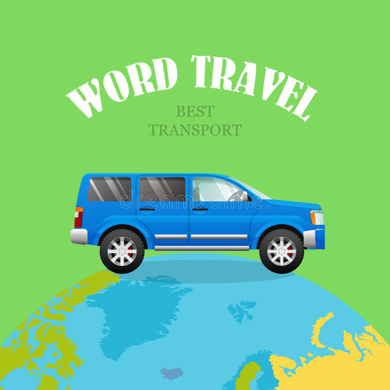 在行星的蓝色汽车 绿色背景 世界旅行 库存例证