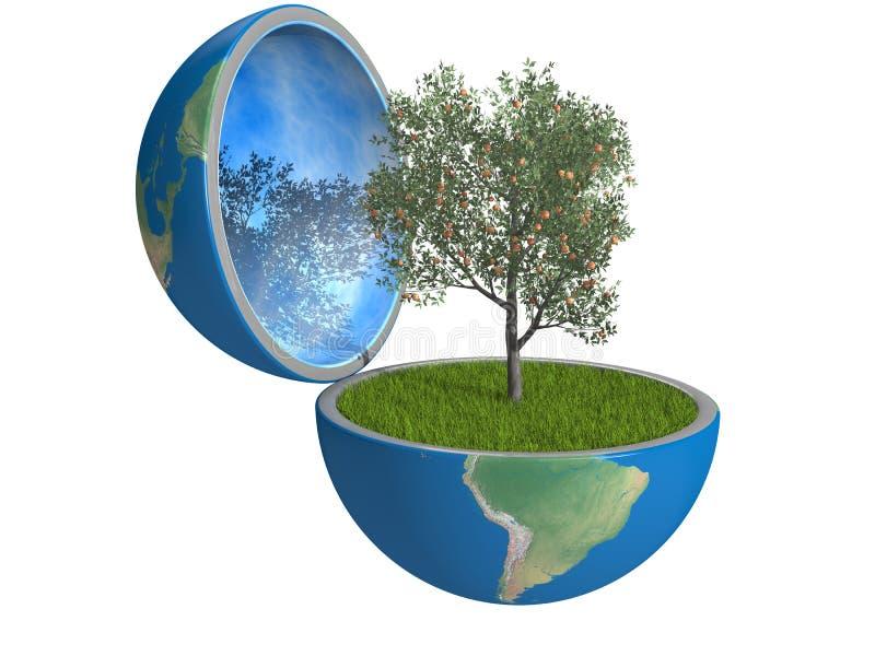 在行星里面的果树 库存例证