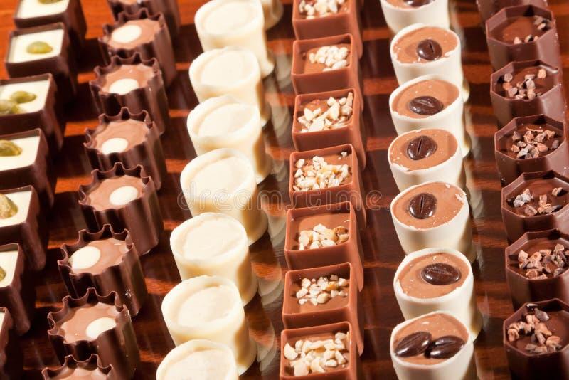 在行的巧克力 免版税库存图片
