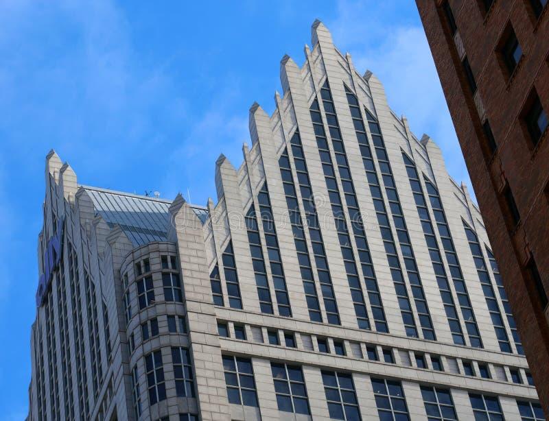 在街市底特律古典建筑的大厦 免版税库存照片