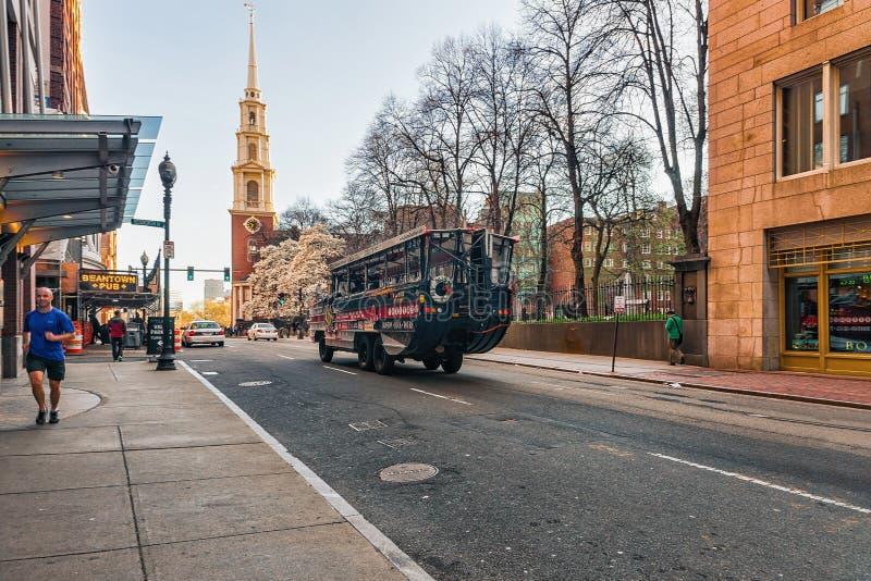 在街市波士顿麻省停放Tremont街的街道教会 免版税库存图片