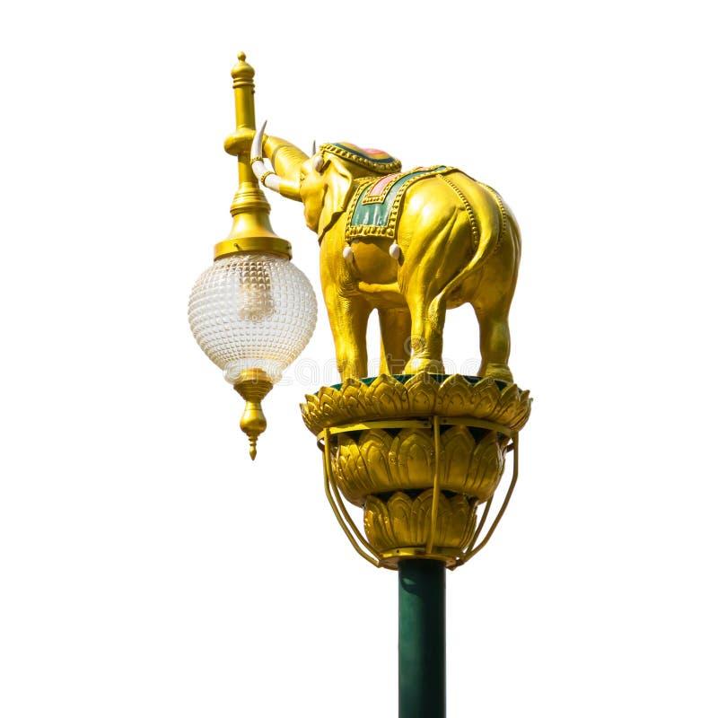 在街灯岗位孤立的金黄大象 库存图片