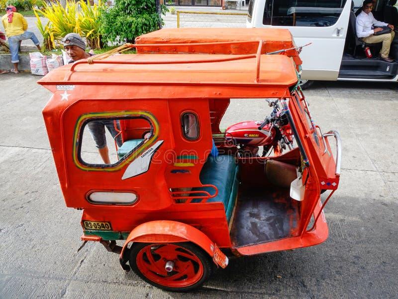 在街道上的三轮车在博拉凯,菲律宾 库存图片
