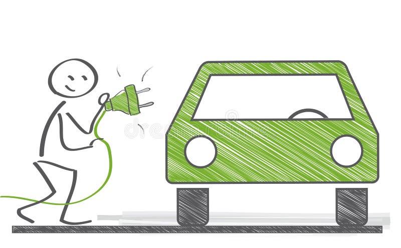 在街道上的充电的现代电车 皇族释放例证