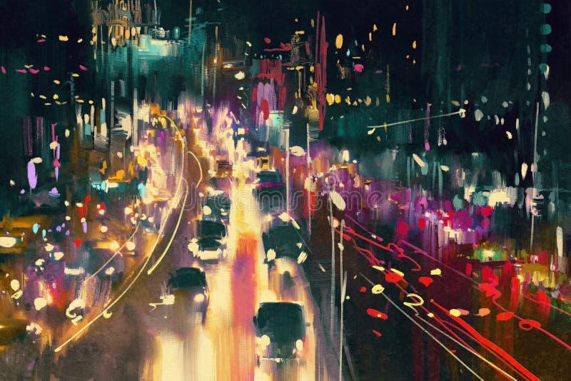 在街道上的光足迹在晚上 免版税库存图片