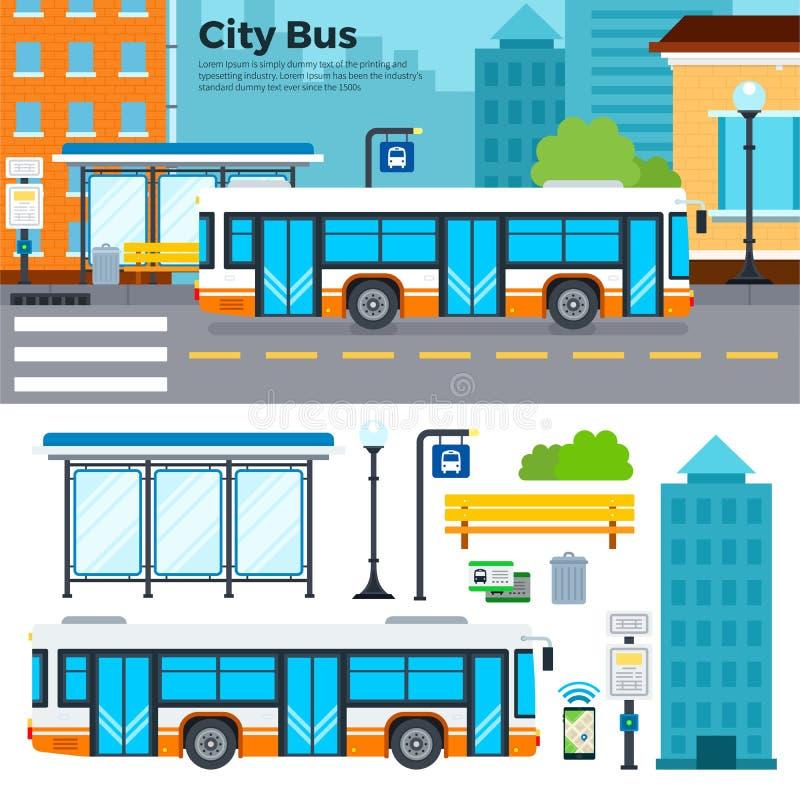 在街道上的公共汽车在城市 库存例证
