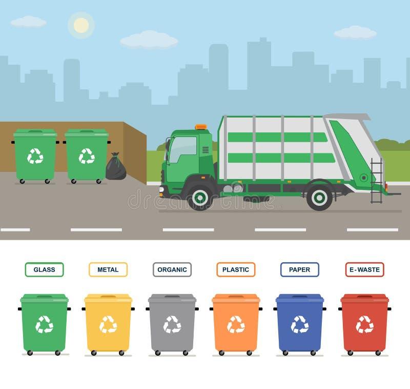 在街道上的垃圾车在镇 在白色背景隔绝的垃圾箱 皇族释放例证