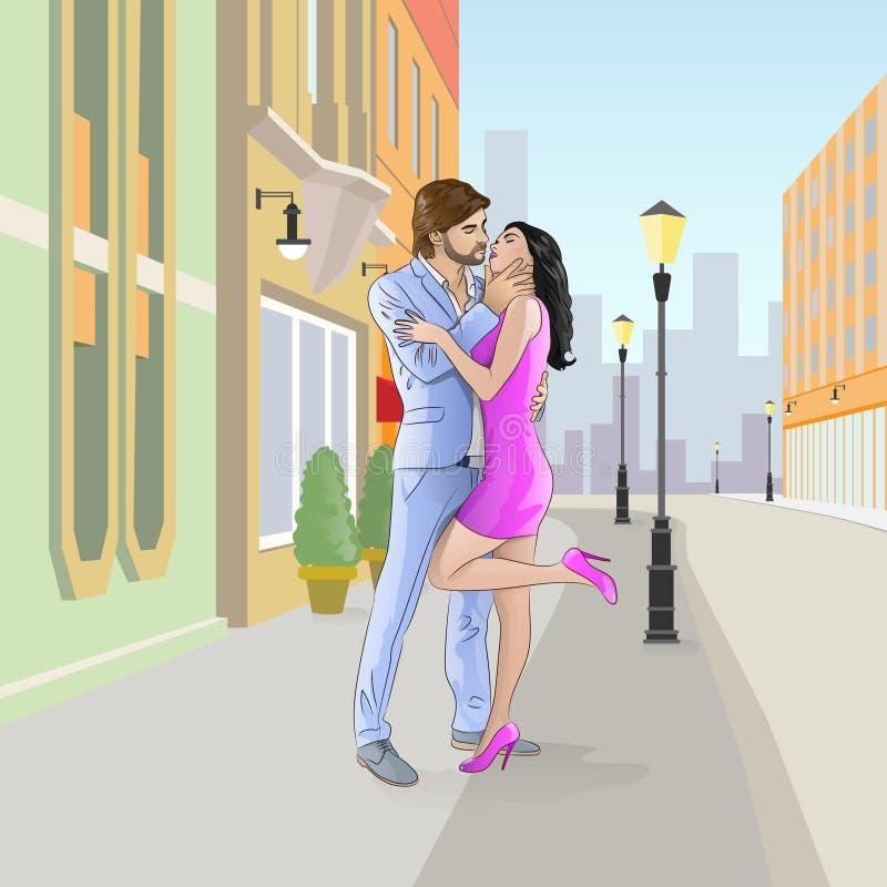 在街道上的夫妇浪漫亲吻的日期 库存例证