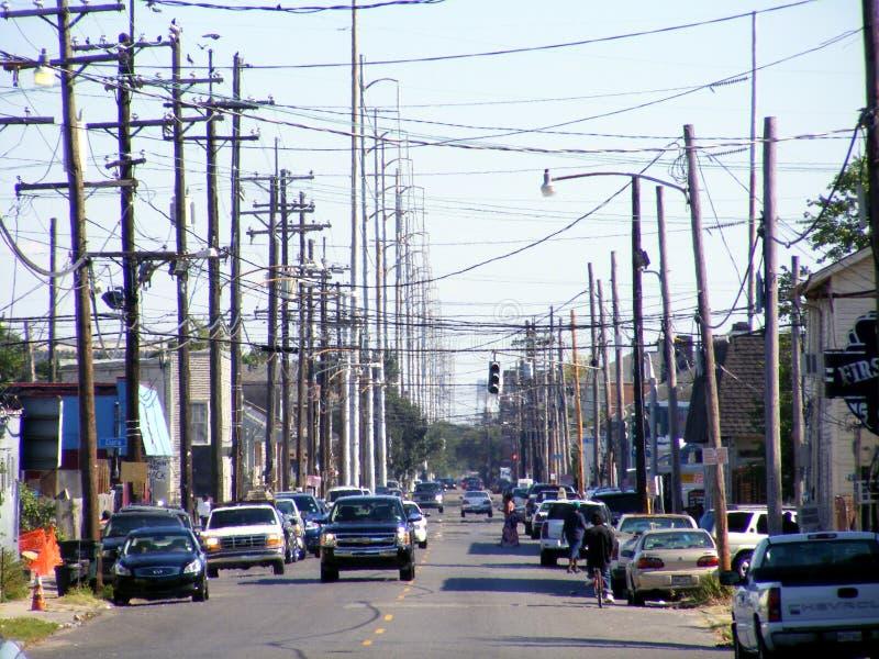 在街道上的旅行新的奥尔良电子导线 库存照片